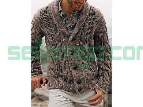Lapel Standard Plain Slim Mens Sweater